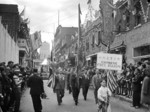 Chinese Free Mason members in the victory parade, De la Gauchetière Street, Montreal, Canada, 2 Sep 1945