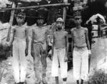Emaciated Japanese naval personnel at Marshall Islands after Japan