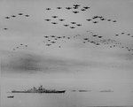 American aircraft fly over USS Missouri after the surrender, photo 2 of 3