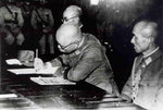 Rikichi Ando signing the surrender document, Taipei City Hall, Taiwan, 25 Oct 1945