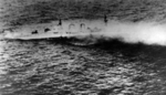 HMS Exeter sinking south of Borneo, Dutch East Indies, 1 Mar 1942, photo 2 of 2