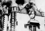A synagogue in Germany burning, probably during Kristallnacht, 9 to 10 Nov 1938, photo 2 of 2