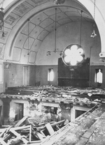 Prayer books scattered on the floor of the choir loft in the Zerrennerstraße synagogue in Pforzheim, Germany, circa Nov 1938, photo 1 of 2
