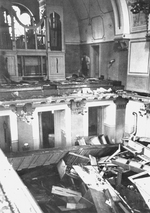Prayer books scattered on the floor of the choir loft in the Zerrennerstraße synagogue in Pforzheim, Germany, circa Nov 1938, photo 2 of 2