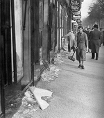 Jewish-owned stores smashed after Kristallnacht, 10 Nov 1938