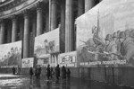 Civilians browsing Soviet propaganda, Kazan Cathedral, Leningrad, Russia, 9 Oct 1941, photo 1 of 2