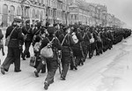 Soviet sailors marching in Leningrad, Russia, 1 Oct 1941