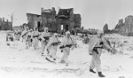 Soviet troops patrolling Pulkovo Heights south of Leningrad, Russia, 1 Mar 1942