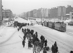 Soviet troops on Moskovsky Prospekt, Leningrad, Russia, 7 Dec 1941