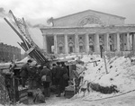 Soviet 85 mm M1939 (52-K) anti-aircraft gun and crew, Leningrad, Russia, 1 Dec 1942; note the Old Saint Petersburg Stock Exchange building in background