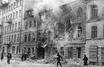 Leningrad building damaged by German artillery, Russia, Dec 1941-Jan 1942