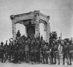 Japanese troops celebrating victory at Lugou Bridge, Beiping, China, Jul-Aug 1937