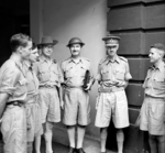 British Army Lieutenant General Arthur Percival meeting with war correspondents shortly before the surrender of Singapore, circa late Jan 1942