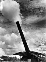 BL 15-inch coastal defense gun elevated for firing, Singapore, circa 1941