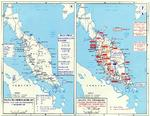 Maps depicting British dispositions in Malaya and Singapore on 7 Dec 1941 and the Japanese advance from Dec 1941 to Jan 1942