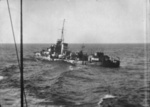 Destroyer HMAS Nestor listing to port after being abandoned, morning of 16 Jun 1942