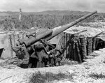 Japanese 120mm dual-purpose gun on hill east of the Orote Peninsula Airfield, Guam, Mariana Islands, 5 Oct 1944