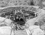 Japanese 25mm anti-aircraft gun in a 13ft revetment or emplacement located on the northern side of the Agana Airfield, Guam, Mariana Islands, 5 Oct 1944