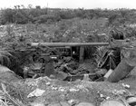 Japanese 75mm Type 88 anti-aircraft battery on the old US rifle range near Marine Barracks, Sumay, Guam, Mariana Islands, 5 Oct 1944