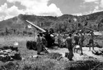 US Marine Corps 155mm rifle on White Beach, Agat Beachhead, Guam, Mariana Islands, circa 21-27 Jul 1944