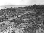 A town in shambles after American bombardment, Tinian, Mariana Islands, Aug 1944