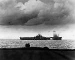 USS Bunker Hill nearly hit by a Japanese bomb during Battle of the Philippine Sea, 19 Jun 1944