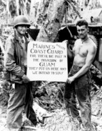 US Marines showing their appreciation to the US Coast Guard during the invasion of Guam, Mariana Islands, Aug 1944