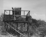 Japanese searchlight position with a dummy operator, Saipan, Mariana Islands, 29 Jun 1944