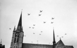 American C-47 aircraft flying over Gheel in Belgium on their way to the Netherlands for Operation Market Garden, 17 Sep 1944