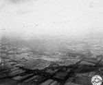 Aerial view of Allied aircraft dropping paratroopers over the Netherlands, 17 Sep 1944
