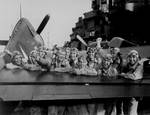 Lexington pilots celebrated a successful attack on the Marshall Islands, Nov 1943