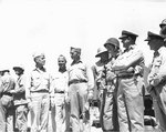 Spruance, Conolly, Forrestal, Schmidt, Smith, Moreel, Carlson, and Pownall at Kwajalein Atoll, Feb 1944, photo 2 of 2