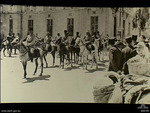 French Circassian Cavalry assembling outside the railway station at Damascus, French Mandate of Syria in preparation of the surrendering ceremony to Axis officials, Sep 1941
