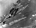 SBDs from Hornet over the burning Mikuma, early afternoon, 6 Jun 1942