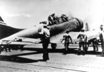 Enterprise VB-6 SBD, with pilot Ensign George Goldsmith and Radioman 1st Class James Patterson, Jr. still onboard, on the flight deck of Yorktown due to fuel exhaustion, 4 Jun 1942, photo 2 of 2