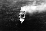 Hiryu burning, photographed by a plane of carrier Hosho, 5 Jun 1942, photo 1 of 2