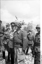 Albert Kesselring inspecting troops on the front lines, Cassino, Italy, Apr 1944