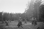 Soviet troops capturing a German forward position at Vitovka near Bryansk, Russia, 30 Sep 1941