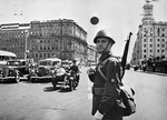 Soviet policeman on Gorky Street, Moscow, Russia, 1 Aug 1941