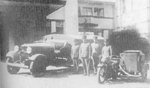 Japanese Army truck and motorcycle equipped with water filtration equipment, Manchuria, circa 1931-1935