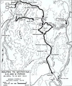 Map depicting the movement of Allied H, K, and M forces toward Myitkyina, Burma, 28 Apr to 16 May 1944