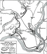 Map depicting the arrival of Allied H, K, and M forces at Myitkyina, Burma, 17-19 May 1944