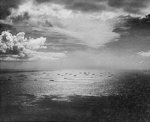 Allied convoy sailing across Atlantic Ocean for Casablanca, Morocco, circa Nov 1942