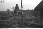 Destroyed buildings at Nemmersdorf, East Prussia, Germany, late Oct 1944, photo 1 of 6