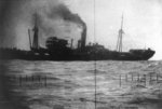Japanese transport Buyo Maru beginning to sink after being struck by USS Wahoo