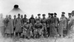 Japanese and Soviet officers at the armistice meeting, Mongolia Area, China, 1 Oct 1939; seated were Major General Tetsukuma Fujimoto and Mikhail Ivanovich Potapov