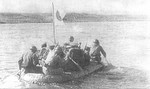 Japanese soldiers crossing Khalkhin Gol river, Mongolia Area, China, mid-1939