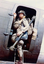 US 101st Airborne Division paratrooper Corporal Louis E. Laird boarded a C-47 transport during dress rehersals for the Normandy invasion, spring 1944