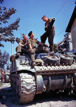 Canadian crew of a Sherman tank south of Vaucelles, Normandy, France, Jun 1944