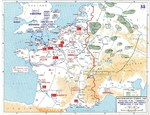 Map depicting Allied bomber offensive plans in the Normandy, France region and German dispositions, 6 Jun 1944